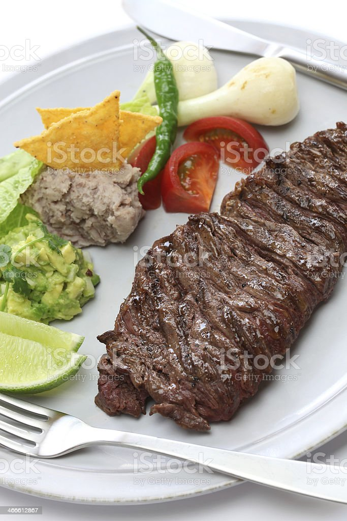 grilled skirt steak, mexican cuisine stock photo