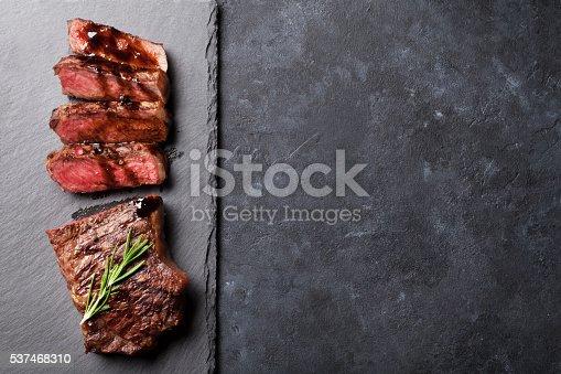 istock Grilled sliced beef steak 537468310