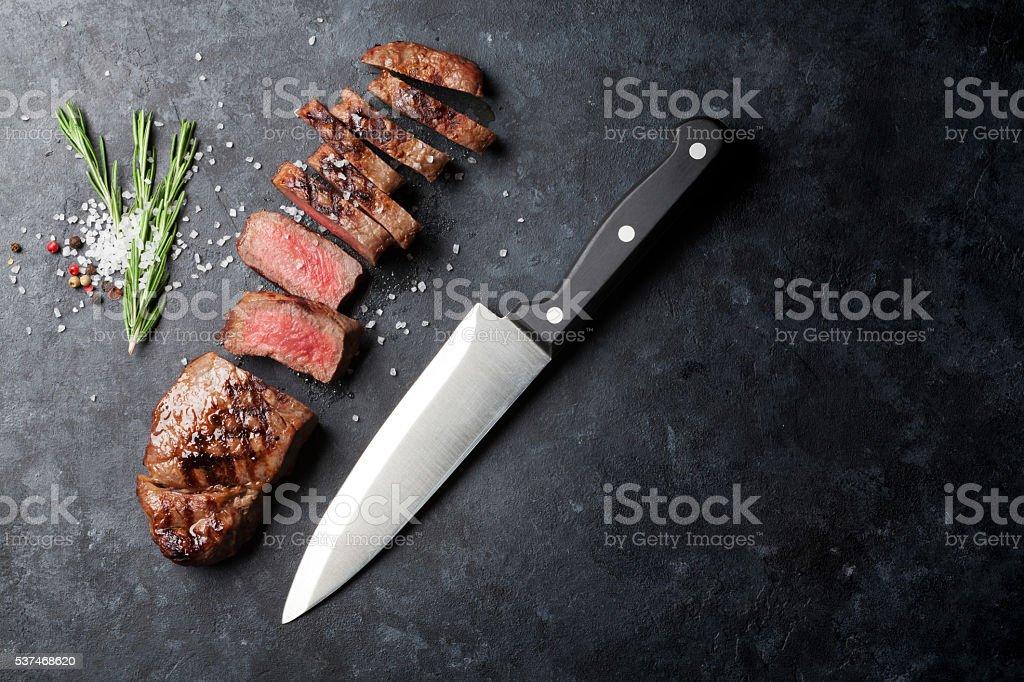 Gegrilltes Rindfleisch steak - Lizenzfrei Ansicht von oben Stock-Foto