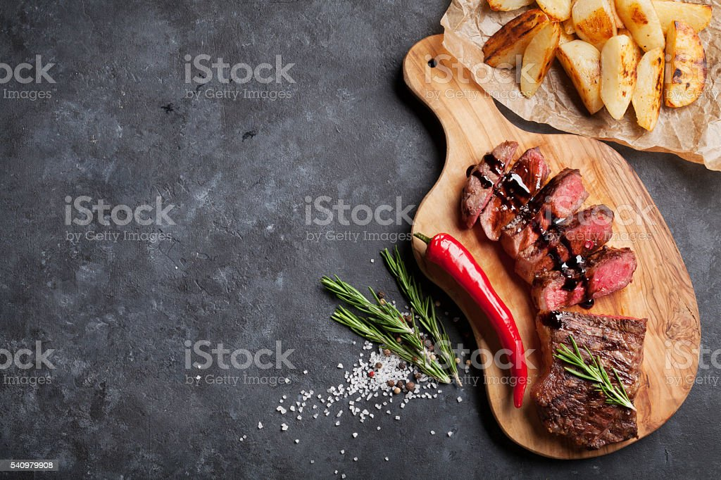 Grilled sliced beef steak stock photo
