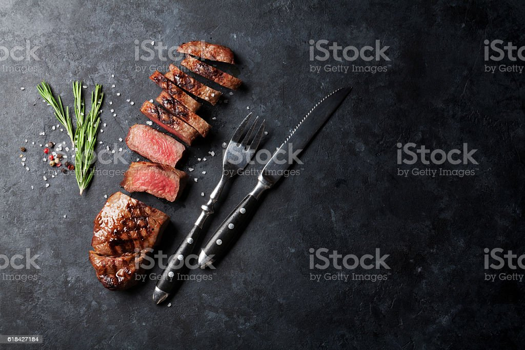 Grilled sliced beef steak royalty-free stock photo