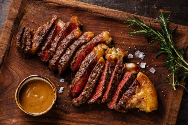Grilled sliced Steak Striploin stock photo