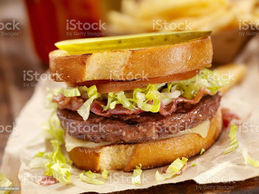 Grilled Sourdough Bacon CheeseBurger royalty-free stock photo