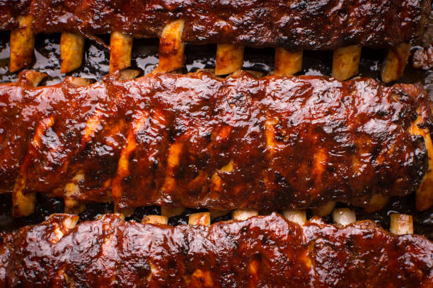 Grilled Spicy Hot Spare Pork Ribs Barbecue Grilled Spicy Hot Spare Pork Ribs Barbecue barbecue grill stock pictures, royalty-free photos & images