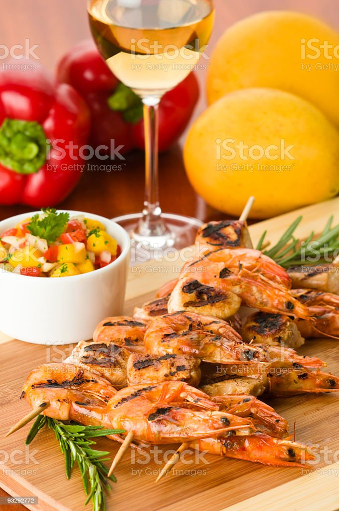 Grilled Srimps royalty-free stock photo