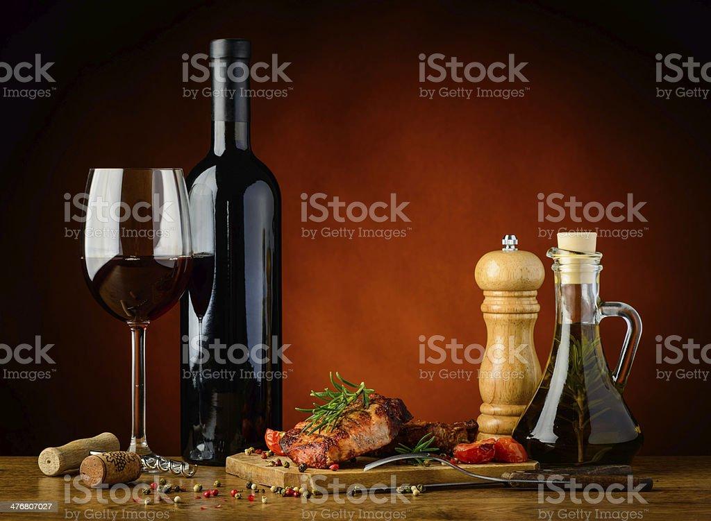 Gegrilltes steak und Rotwein – Foto