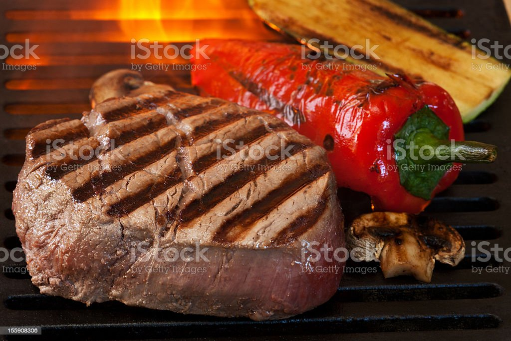Grilled Steak and vegetable royalty-free stock photo