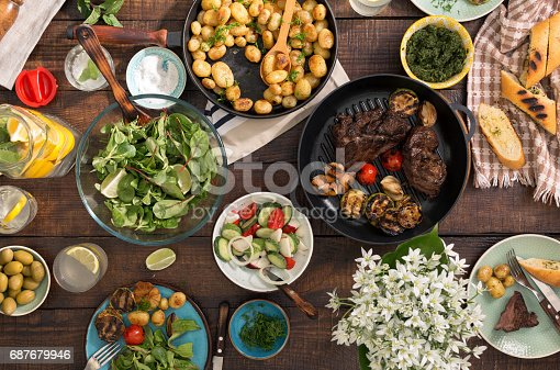 657146780 istock photo Grilled steak, grilled vegetables, potatoes, salad, different snacks and homemade lemonade on rustic wooden table 687679946