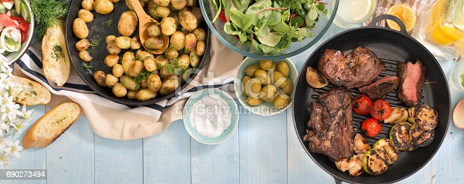 685404620istockphoto Grilled steak, grilled vegetables, potatoes, salad, different snacks and homemade lemonade on a blue rustic wooden table 690273494