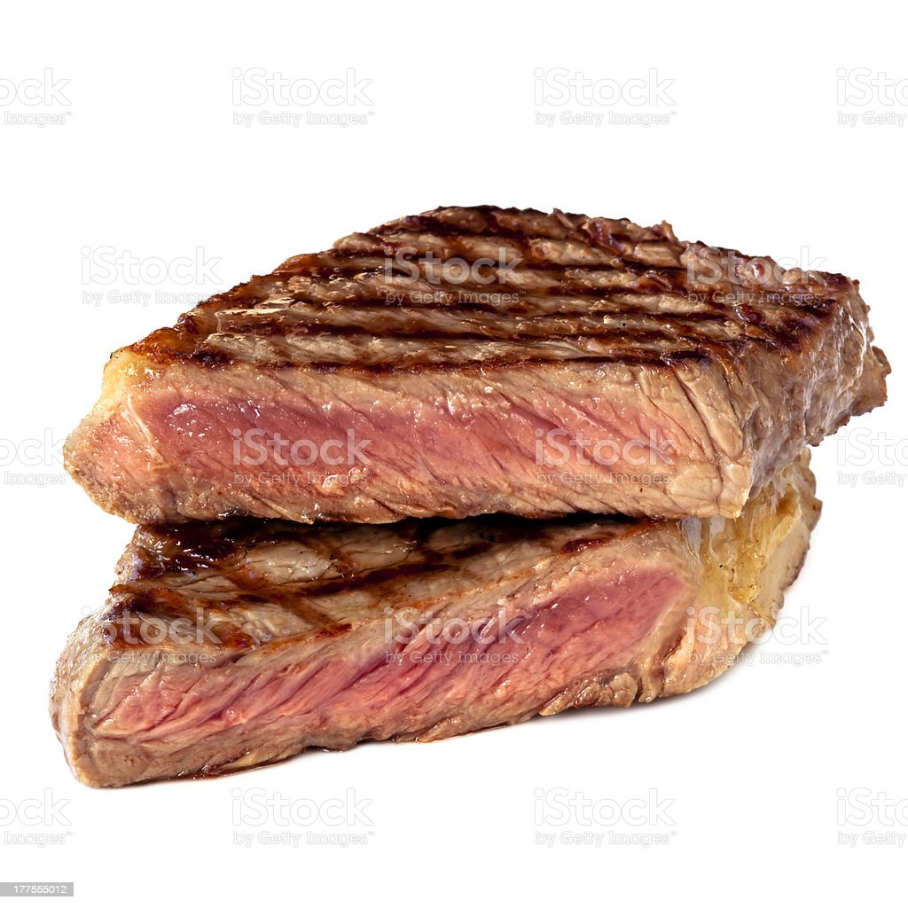 Grilled Steak Isolated on White royalty-free stock photo