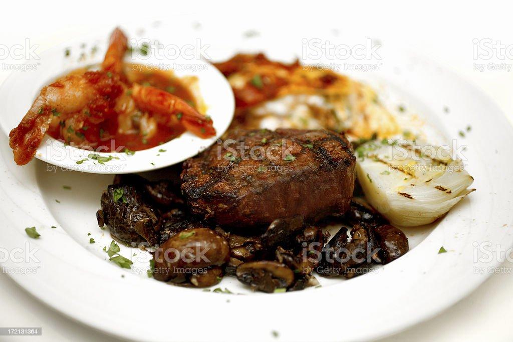 Grilled Steak & Mushrooms royalty-free stock photo