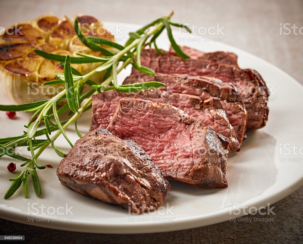 Grilled Steak On White Plate Stock Photo Download Image Now Istock