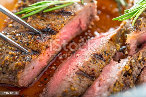 Grilled Steak with seasoning
