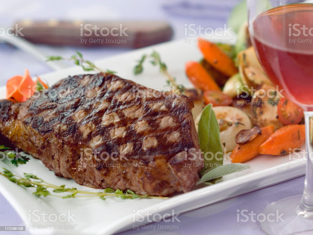 Grilled steak platter with grilled vegetables royalty-free stock photo