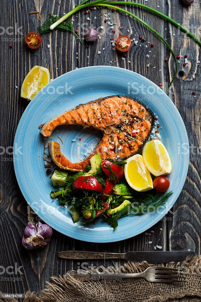 Grilled steak salmon stock photo