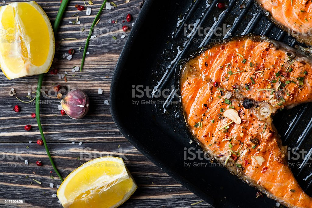 Grilled steak salmon stock photo