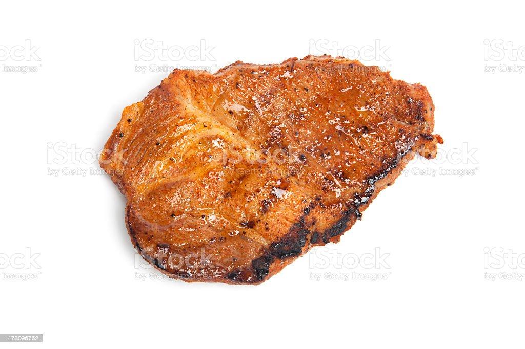 Grilled steak, white background stock photo