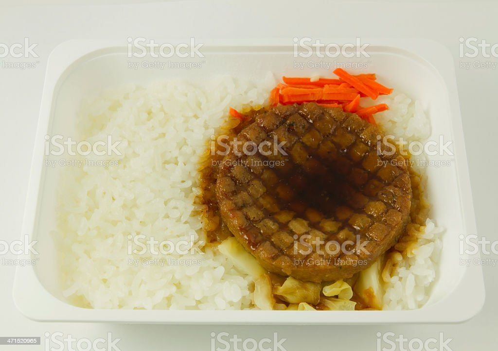 Grilled steak with rice royalty-free stock photo