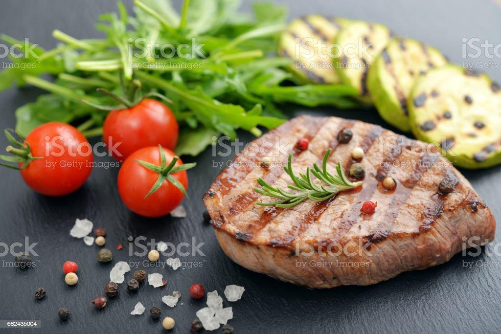 Grilled steak with rukkola royalty-free stock photo