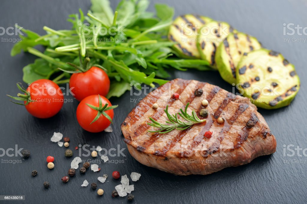Grilled steak with rukkola royalty-free stock photo
