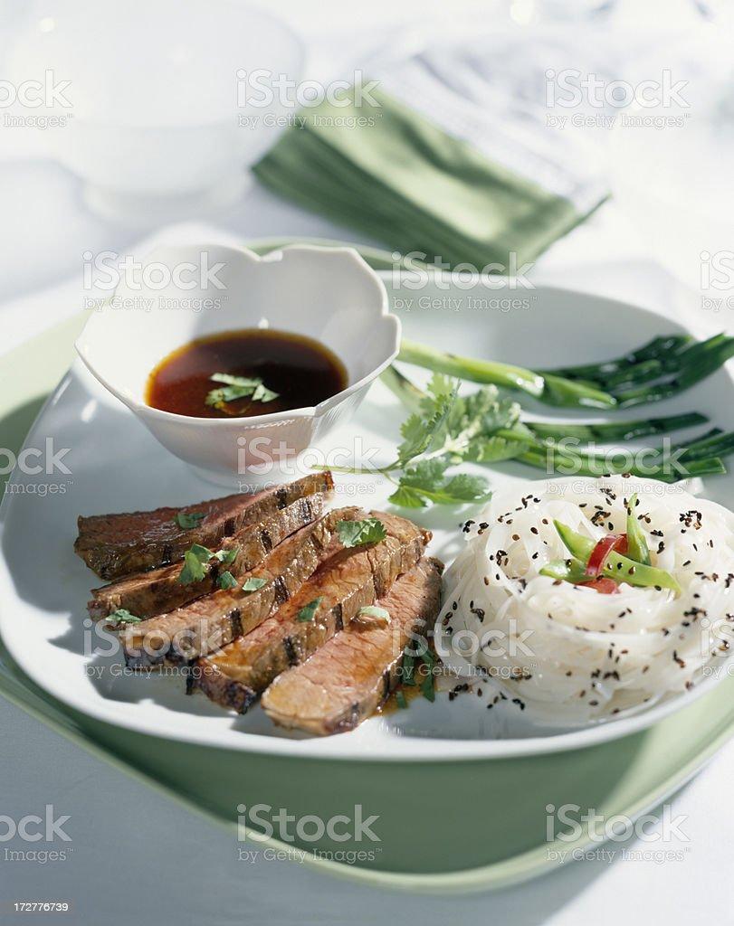 Grilled Steak with teriyaki sauce stock photo
