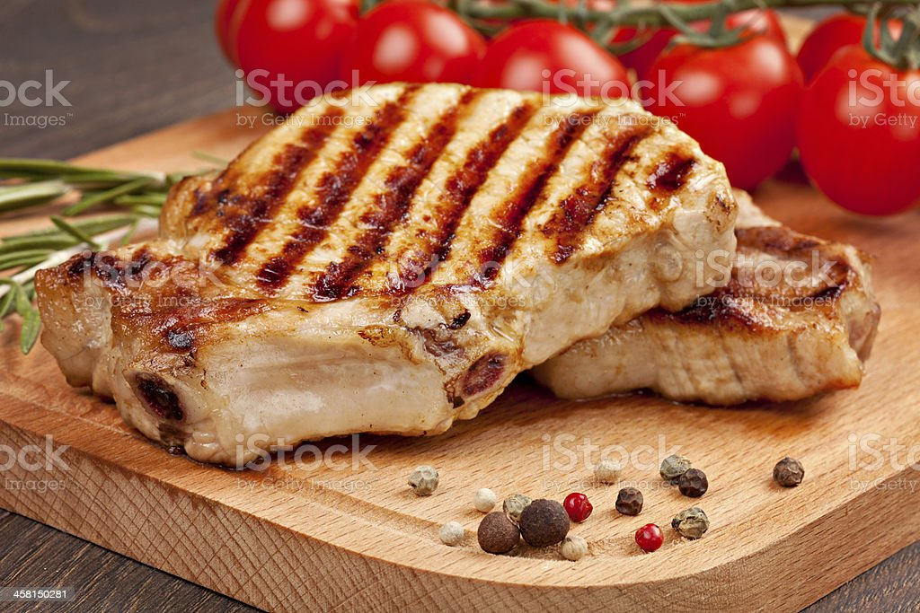 Grilled steak with vegetables stock photo