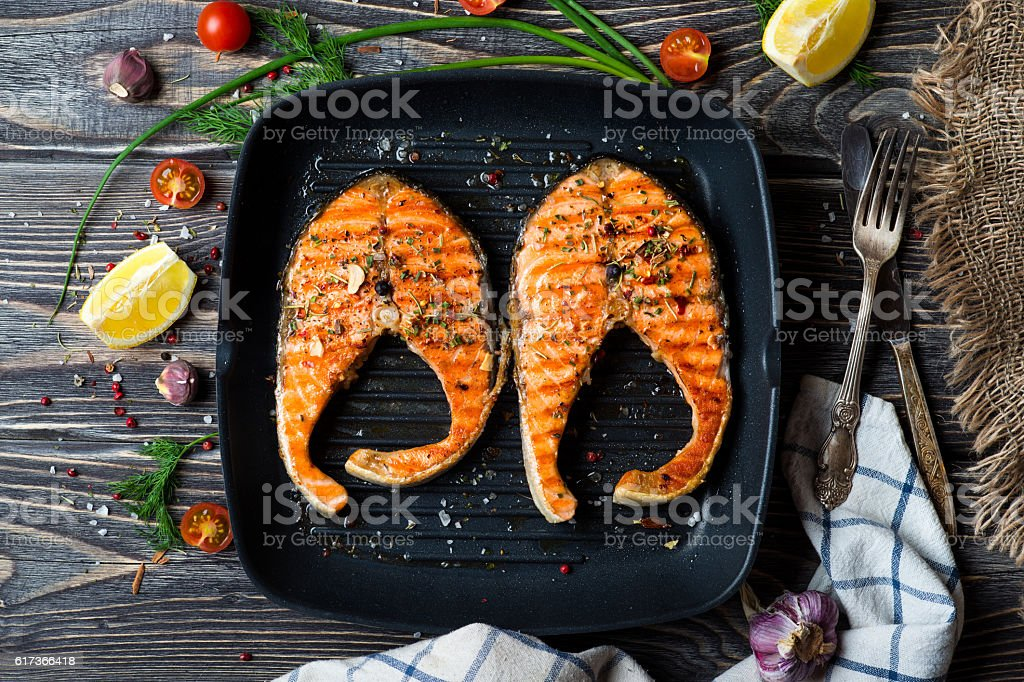 Grilled steaks salmon stock photo