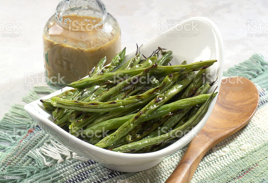 Grilled String Beans stock photo