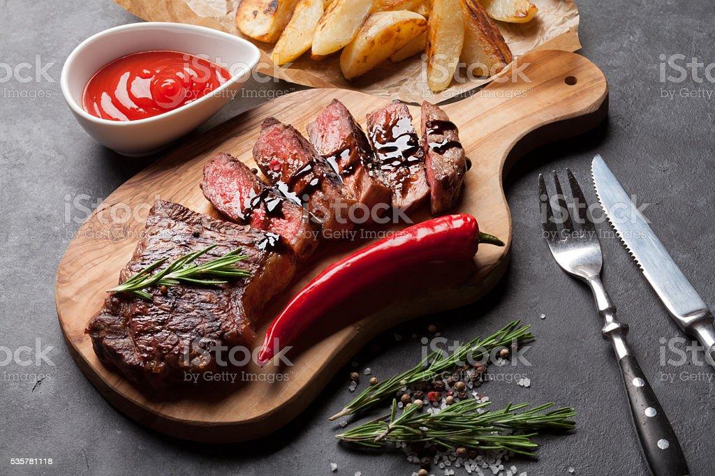 Grilled striploin steak stock photo