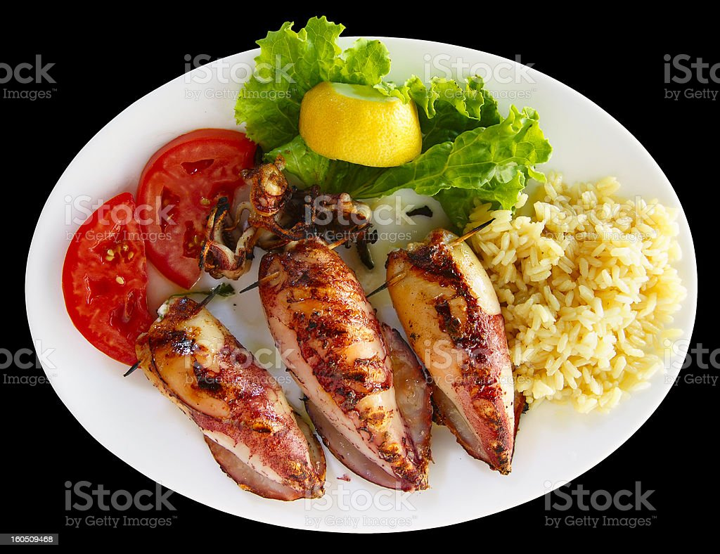 Grilled stuffed squids with rice royalty-free stock photo
