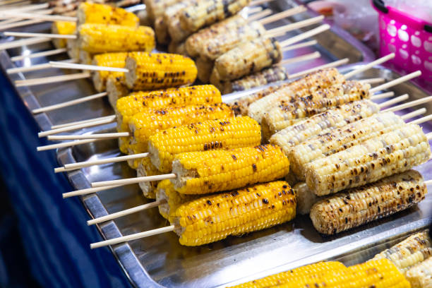 Grilled sweet corn stock photo