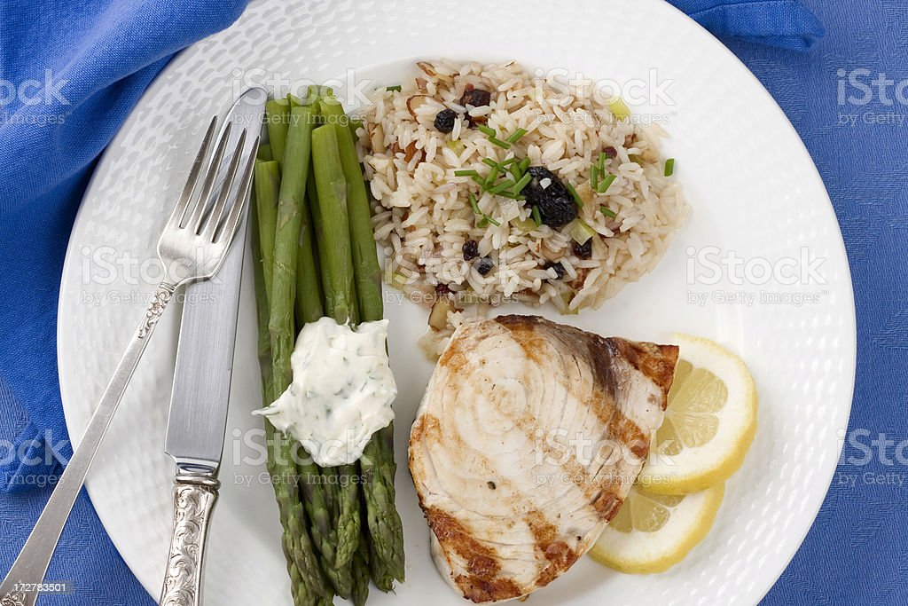 Grilled Swordfish Dinner royalty-free stock photo