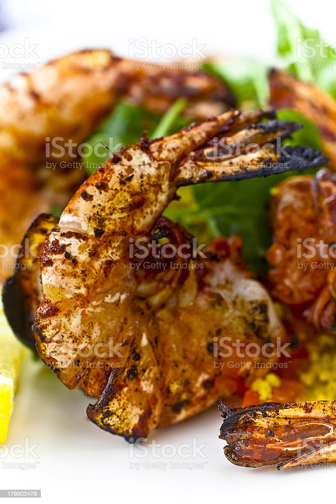 Grilled Tandoori Shrimps royalty-free stock photo