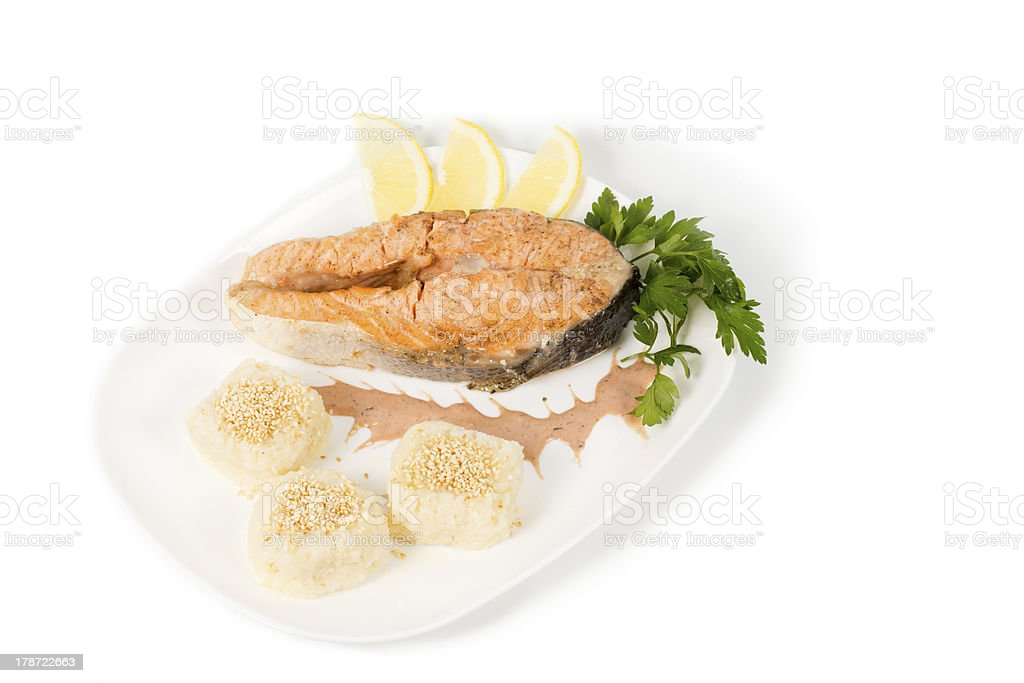 Grilled tasty fresh salmon steak royalty-free stock photo