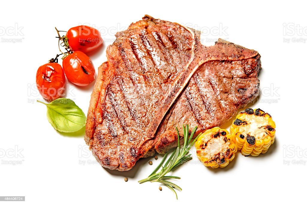 Grilled T-bone steak isolated stock photo