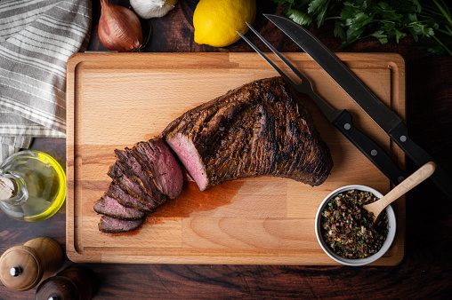 grilled tri tip steak with chimichurri sauce