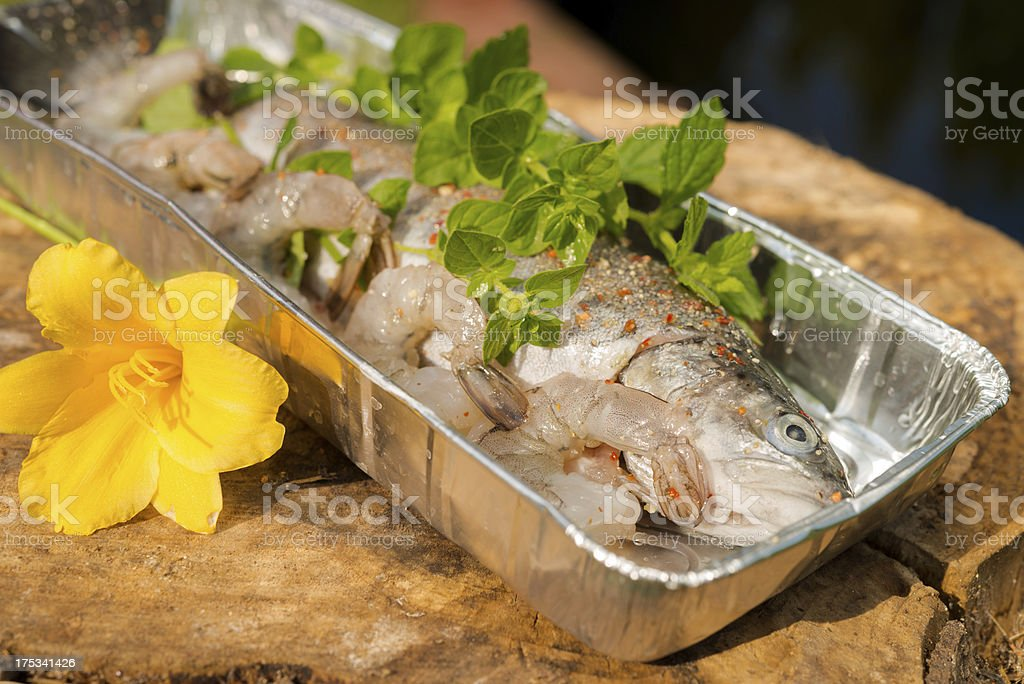 Grilled trout royalty-free stock photo