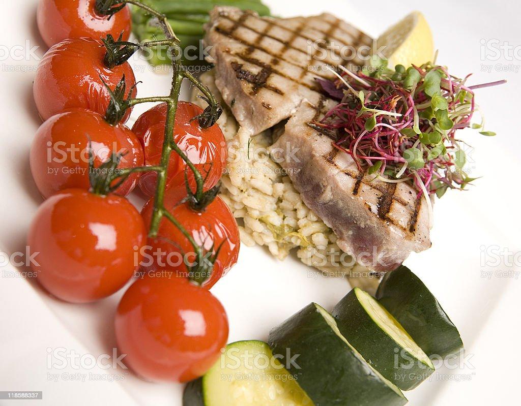 Grilled Tuna & Cherry Tomato salad royalty-free stock photo