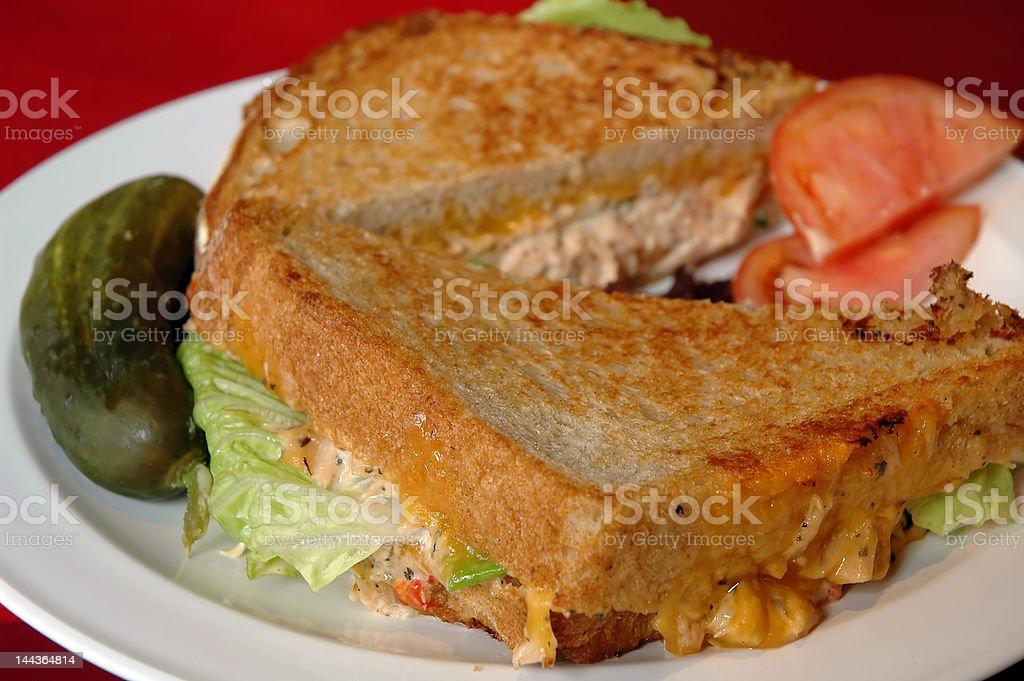 grilled tuna melt stock photo