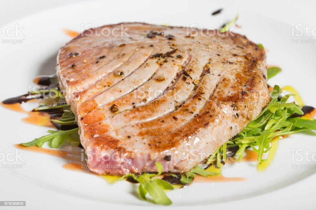 Grilled Tuna steak dinner stock photo