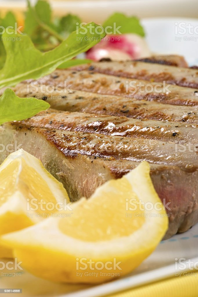 Grilled tuna steak royalty-free stock photo