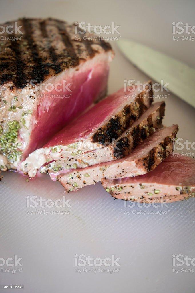 Grilled tuna steak slices stock photo