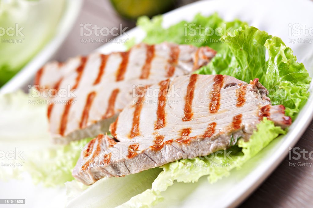 Grilled tuna with salad stock photo