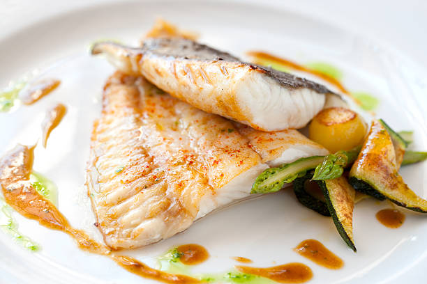 Grilled turbot fish with vegetables. stock photo