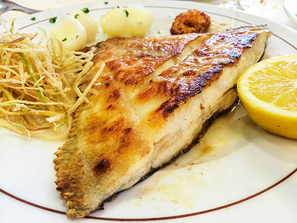 Grilled turbot stock photo