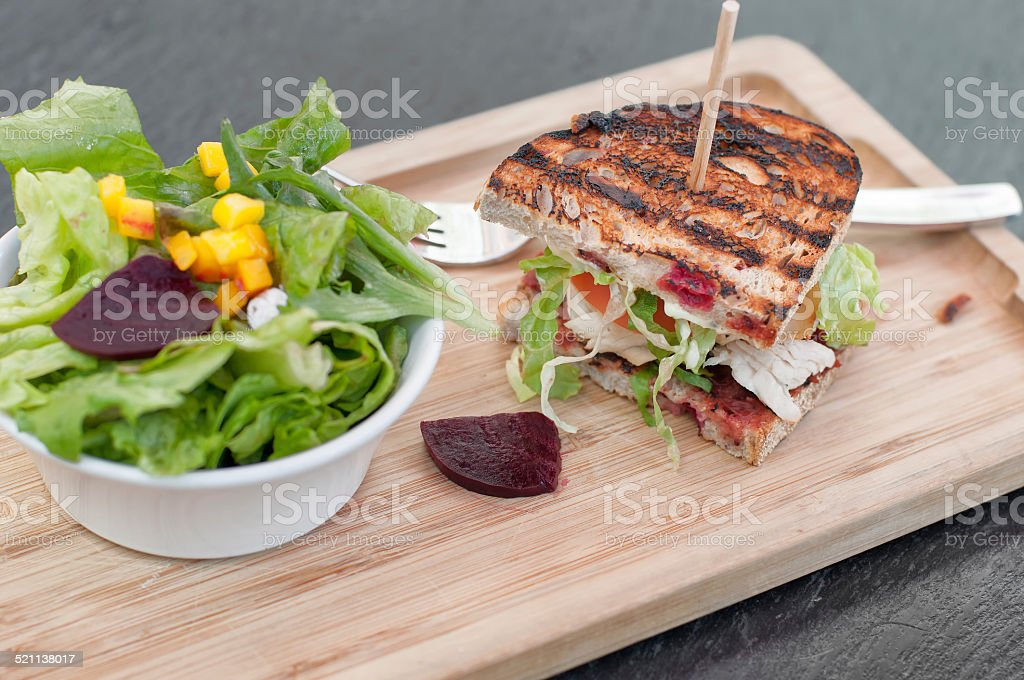 Grilled Turkey and Cranberry Sandwich with Side Salad stock photo