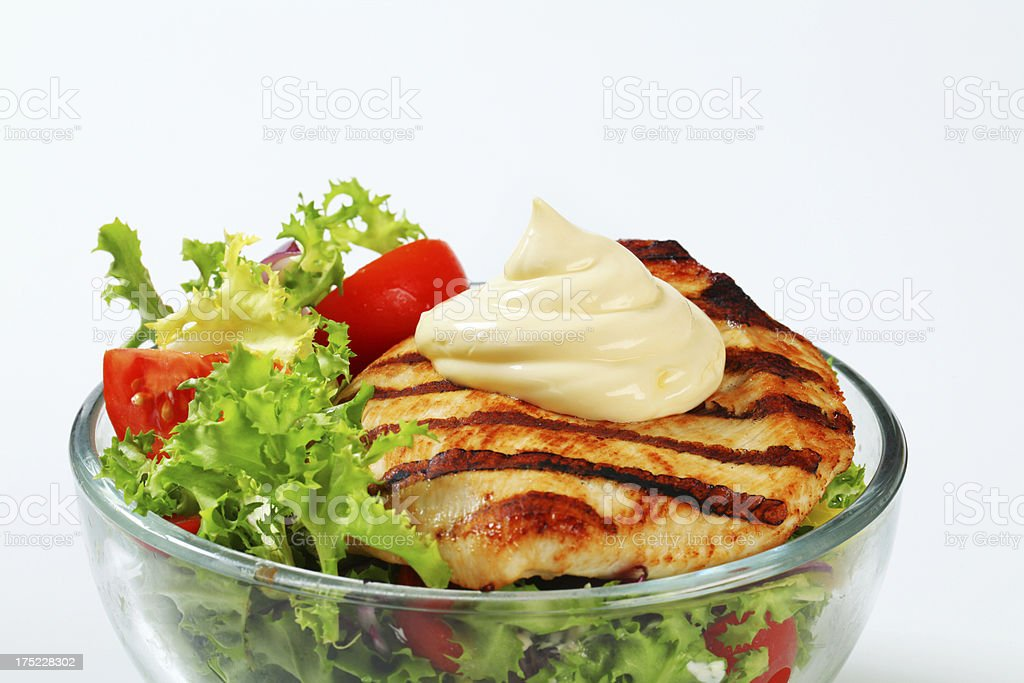 Grilled turkey breast with salad royalty-free stock photo