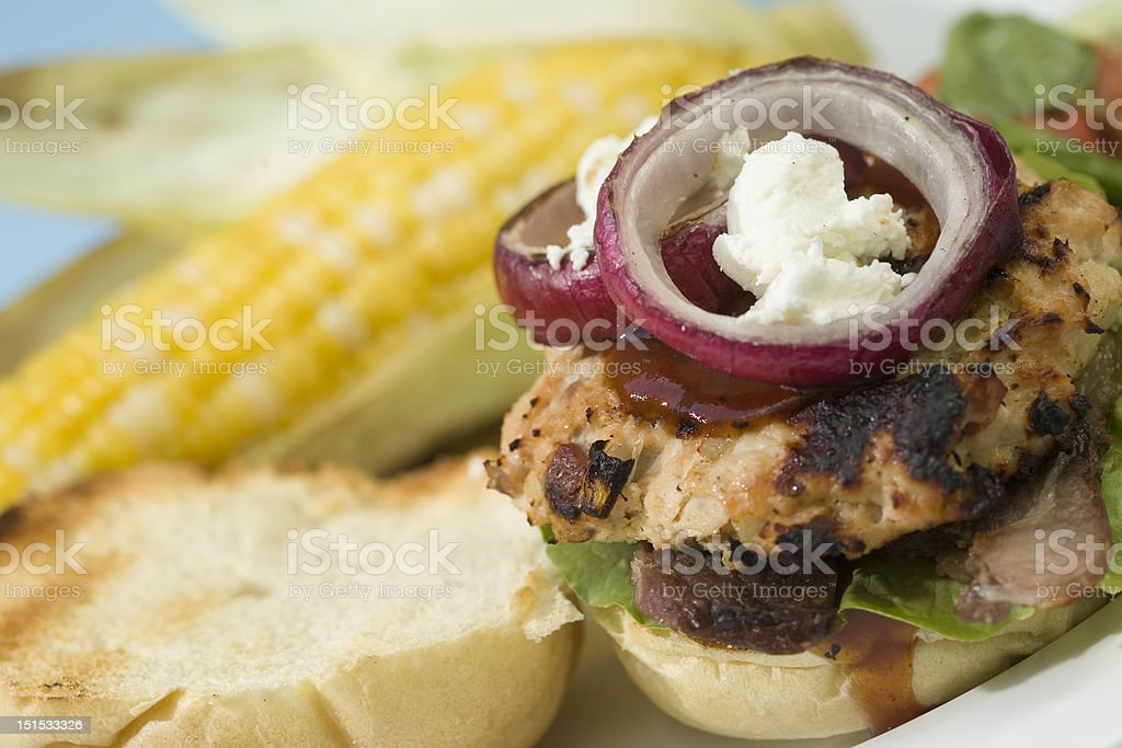 Grilled Turkey Burgers royalty-free stock photo