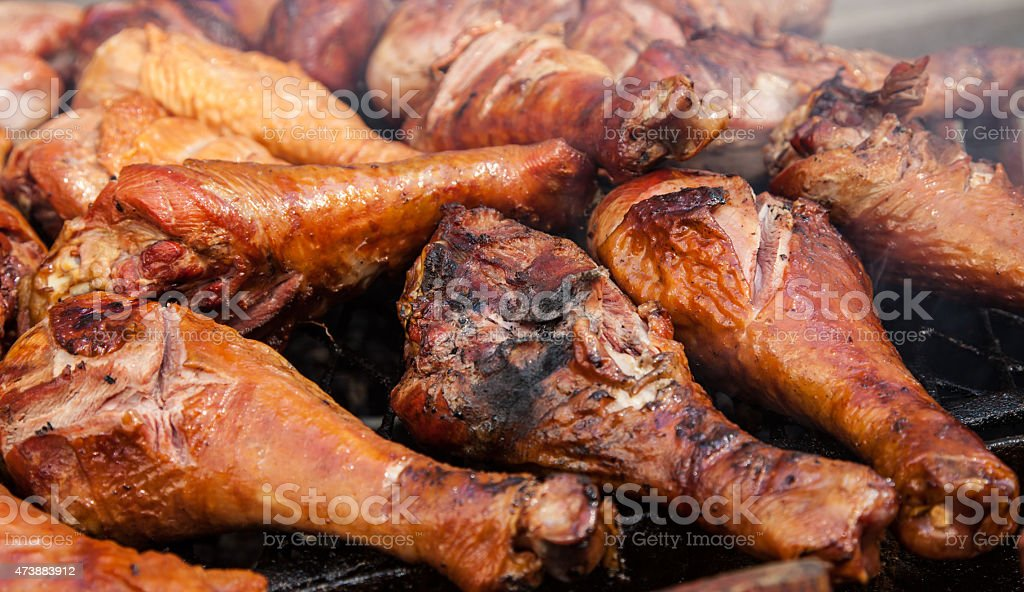 Grilled turkey leg stock photo
