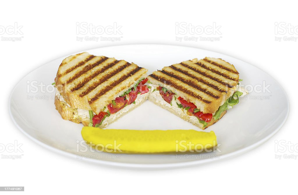 Grilled Turkey Panini with Dill Pickle Spear stock photo
